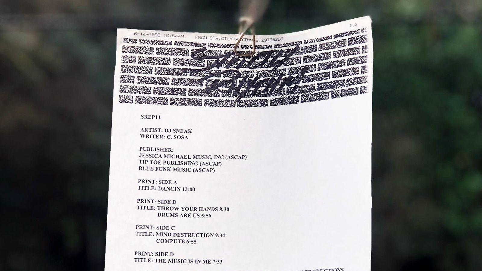 DJ Sneak Dancing Promo Sheet on Strictly Rhythm Records